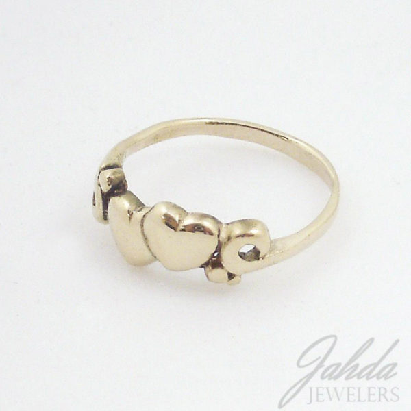 Solid 14K Yellow Gold Two Heart Ring, Size 6, 2.1 grams, Handmade