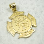 Solid 10K Yellow Gold Firefighter Fire Rescue Pendant Charm, 2.0 grams