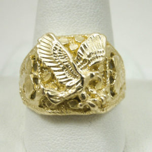 Solid 14K Yellow Gold Large Men's Eagle Leaf Nugget Ring, Size 5 – 15