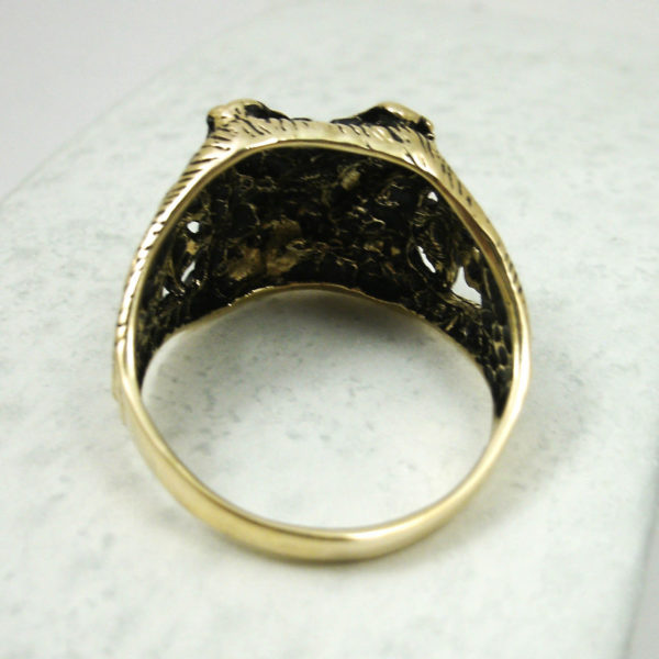 Solid 14K Yellow Gold Men's Blackened Eagle Nugget Ring, Size 5 - 15