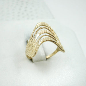Solid 14K Yellow Gold Diamond Cut Pierced Wave Ring, Sizes 3 -15