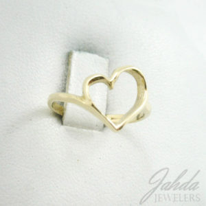 Solid 10K Yellow Gold Heart Ring, Pierced, Sizes 3 - 12