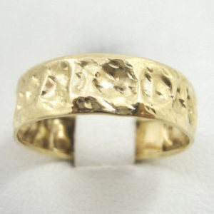 Solid 10K Gold Handmade Deep Hammer Texture Band Ring, 6.4mm, Sizes 3 - 12