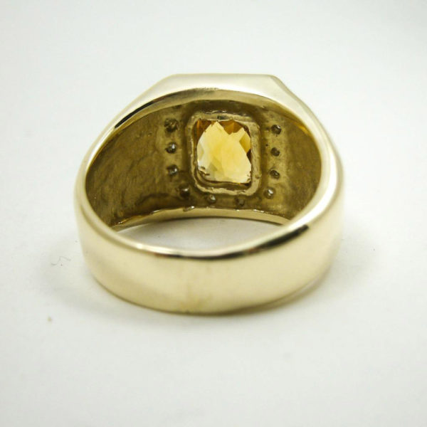14K Yellow Gold 1.48 CT Citrine and Diamond Men's Ring, 10 grams, Size 9