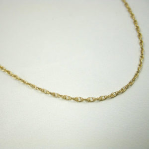 """Solid 14K Yellow Gold 18"""" 0.9mm Rope Link Chain Necklace, 1.0 grams"""