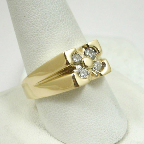 Solid 14K Yellow Gold .46 CT Diamond Men's Ring 9.7 grams Size 10 Comfort Fit