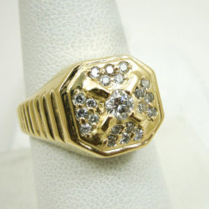 Solid 14K Yellow Gold 0.55 Carat Diamond Men's Ring, Size 8, 7.7 grams