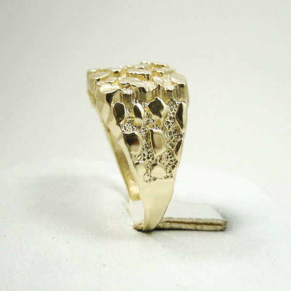 Extra Large 10K Yellow Gold Men's Nugget Ring 5.5 Grams Size 13 Diamond Cuts