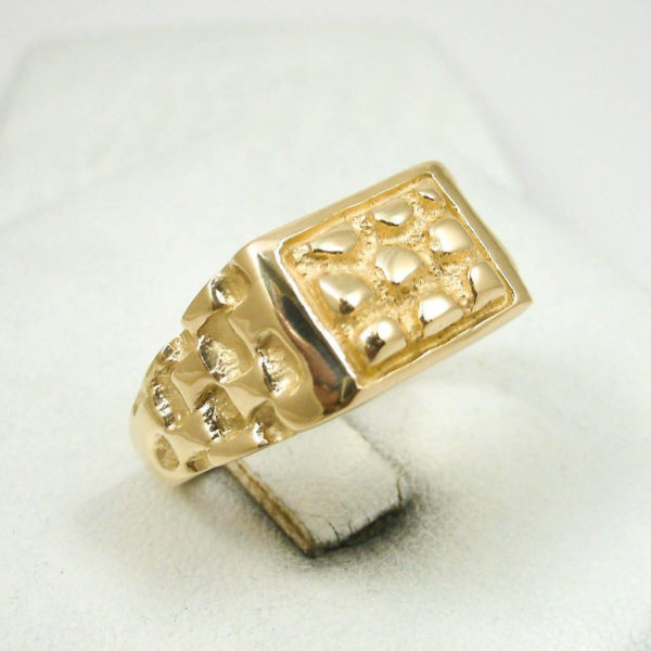 Solid 18K Yellow Gold Heavy Signet Style Men's Nugget Ring 9.1 Grams Size 10