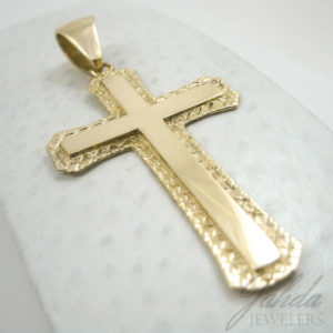 "Custom 10K Yellow Gold Large Diamond Cut Cross, 7.3 grams 2.75"" long"