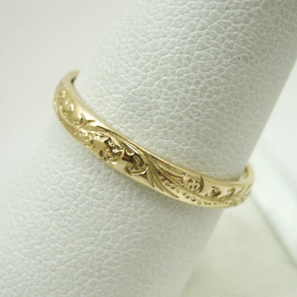 Solid 14K Yellow Gold Hand Engraved Royal Hawaiian Scroll Ring Band 2mm, Midi
