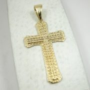 "Custom 14K Yellow Gold Large Diamond Cut Cross, 8.9 grams 2.75"" long"