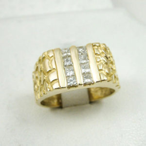 14K Yellow Gold 0.64 Carat Diamond Nugget Ring Size 9, 8.7 grams, Princess