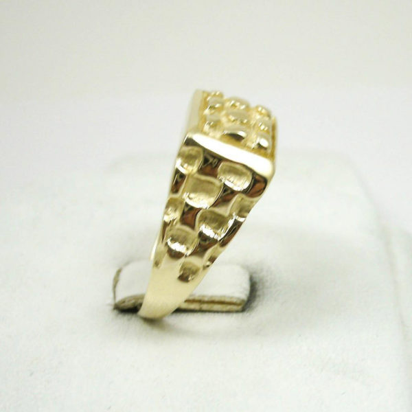 Solid 10K Yellow Gold Heavy Square Signet Style Men's Nugget Ring Size 5 - 15