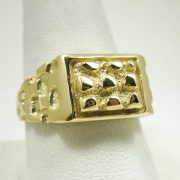 Solid 10K Yellow Gold Heavy Signet Style Men's Nugget Ring 7.7 Grams Size 10