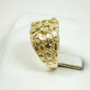 Extra Large 10K Yellow Gold Men's Nugget Ring 6.2 Grams Size 11 Diamond Cuts