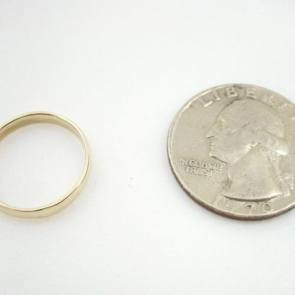 Solid 14K Yellow Gold Plain Band Ring 3mm, Size 7, 2 grams, Stack, Wedding