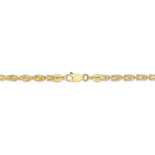 "Semi-Solid 14K Yellow Gold 20"" Marquise Chain, 4mm, 20.51 Grams"