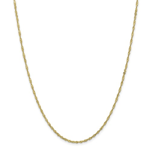 """Solid 10K Yellow Gold 16"""" Sparkle Singapore Chain, 1.7mm, 2.07 Grams"""