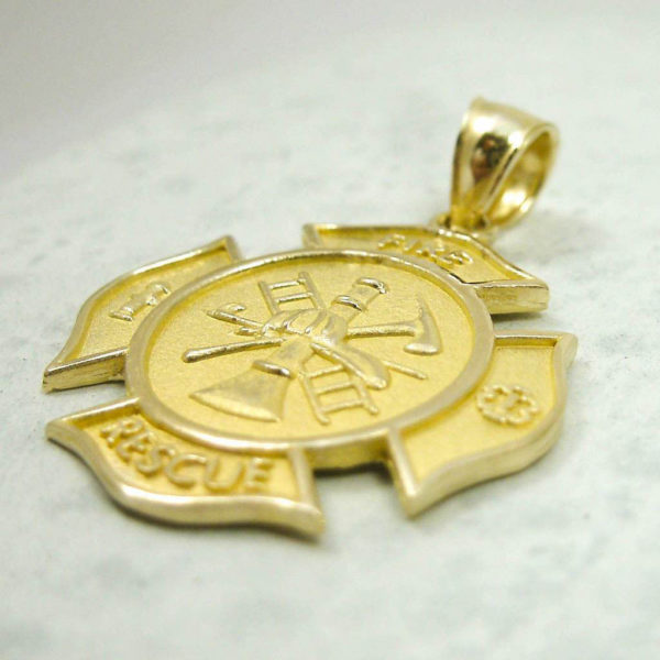NEW Solid 18K Yellow Gold Firefighter Fire Rescue Pendant Charm