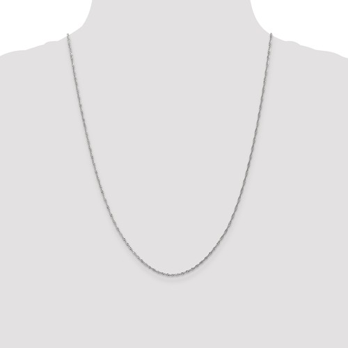 """Solid 10K White Gold 24"""" Sparkle Singapore Chain, 1.3mm, 2.17 Grams"""