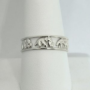 Solid 18K White Gold Elephant Ring 6mm  Size 3 – 12, Lucky