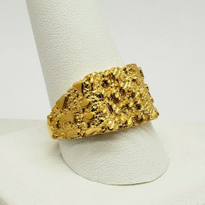 Solid 24K Yellow Gold Large Diamond Cut Mens Nugget Ring, Size 5 – 11