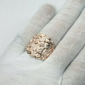 Solid 18K Rose Gold Mens Nugget Ring Diamond Cut Extra Heavy, Size 5 – 15 XXL